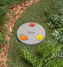 "Outdoor Plaques & Decor - Personalized 7"" Daisy Garden Stepping Stone"