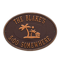 Outdoor Plaques & Decor - Personalized Island Time Palm Deck Plaque