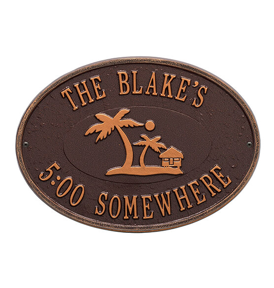 Personalized Island Time Palm Deck Plaque