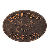 Outdoor Plaques & Decor - Personalized Swimming Pool Party Deck Plaque