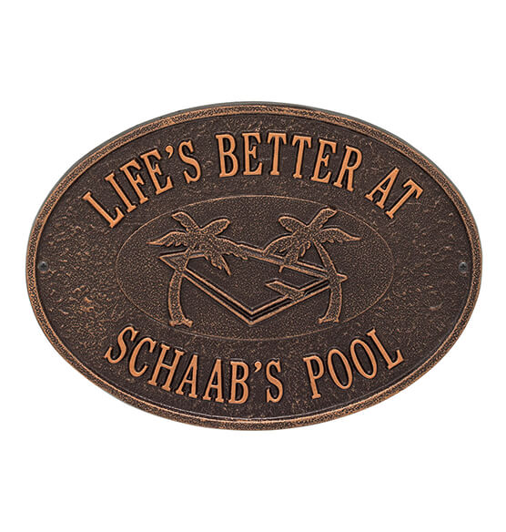 Personalized Swimming Pool Party Deck Plaque