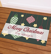 Holiday Décor - Personalized Merry Christmas Ornaments Doormat