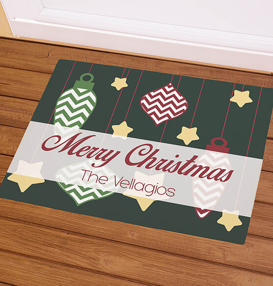 Personalized Merry Christmas Ornaments Doormat