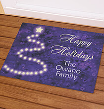 Holiday Décor - Personalized Happy Holidays Star Tree Doormat