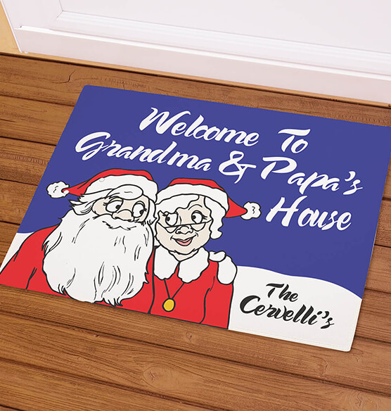 Personalized Grandma & Papa's Santa Claus Doormat - View 1