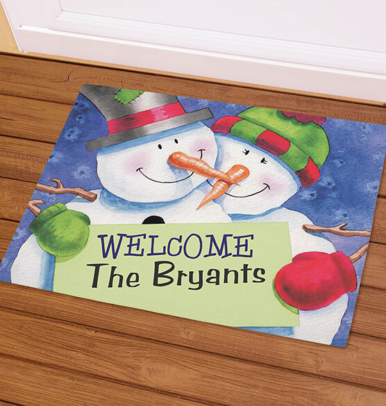 Personalized Welcome Snowcouple Doormat - View 1