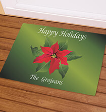 Personalized Happy Holidays Poinsettia Doormat