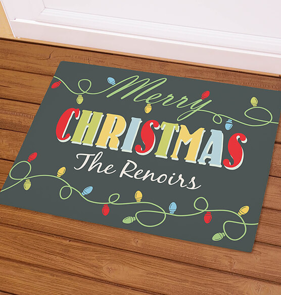 Personalized Merry Christmas Light Bulb Doormat - View 1