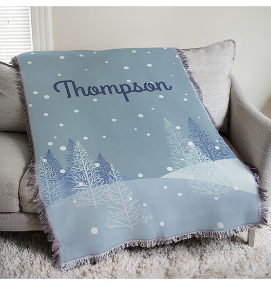 "Personalized Winter Scene Afghan, 54""x 38"""