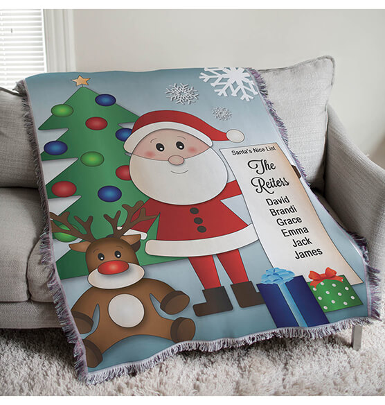 "Personalized Santa's Nice List Afghan, 54""x 38"" - View 1"