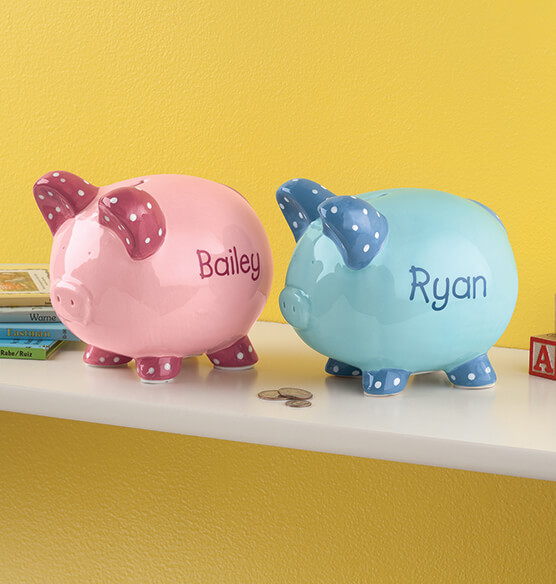 Personalized Kid's Whimsical Piggy Bank - View 1
