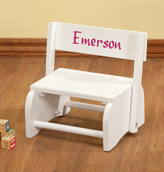 Personalized White Wooden 2-in-1 Chair and Stepstool - View 1