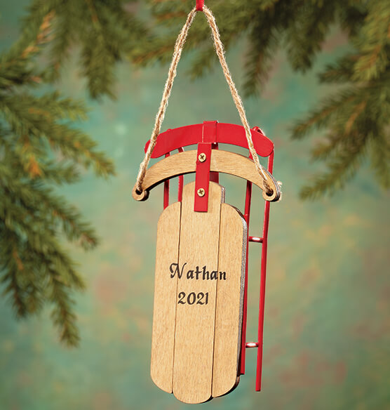 Personalized Wooden Sled Ornament - View 1