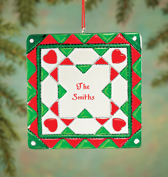 Personalized Christmas Quilt Square Ornament - View 1