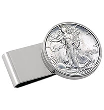 Accessories for Him - Monogram Walking Liberty HalfDollar SS Silvertone Money Clip