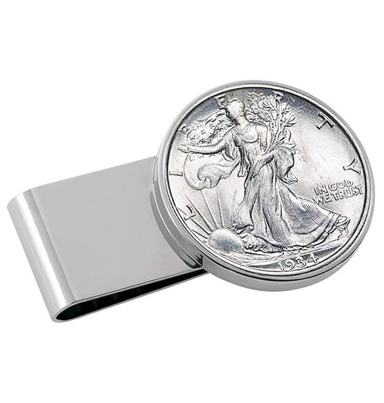 Monogram Walking Liberty Half-Dollar SS Money Clip