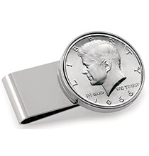 Top Gifts for Him - Monogram Genuine JFK Half-Dollar Coin Money Clip