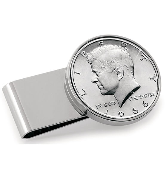 Monogram Genuine JFK Half-Dollar Coin Money Clip - View 1