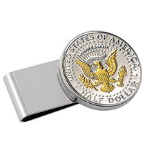 Accessories for Him - Monogrammed Presidential HalfDollar SS Silvertone Money Clip