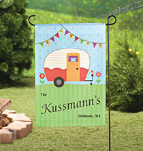 Outdoor Plaques & Decor - Personalized Happy Campers Garden Flag
