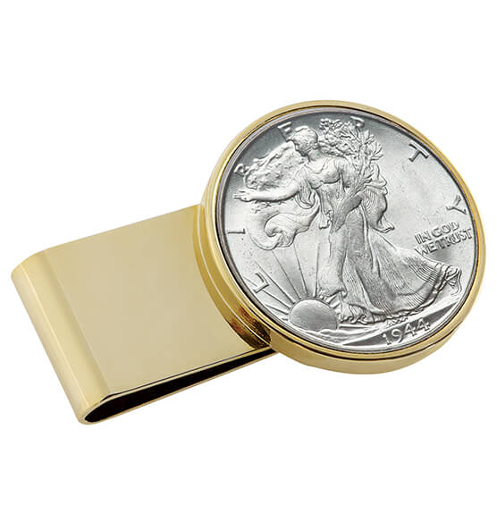 Monogram Walking Liberty Coin Goldtone Money Clip