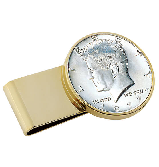 Monogram JFK Half-Dollar Goldtone Money Clip