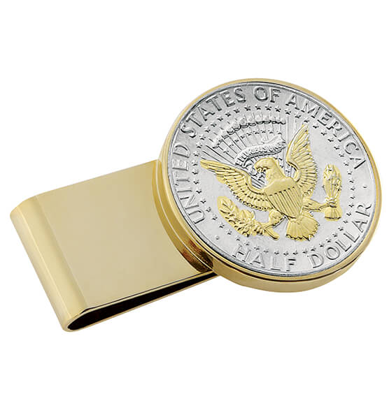 Monogrammed Presidential Half Dollar SS Goldtone Money Clip
