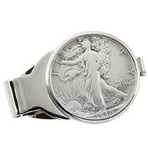 Accessories for Him - Monogram Walking Liberty Half Dollar Silvertone Money Clip