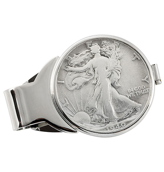 Walking Liberty Half-Dollar Monogram Money Clip