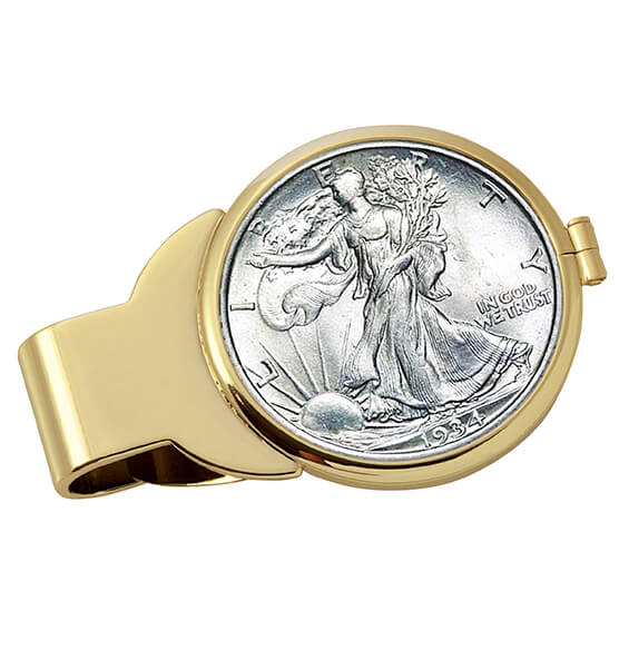 Walking Liberty Half-Dollar Goldtone Money Clip - View 1