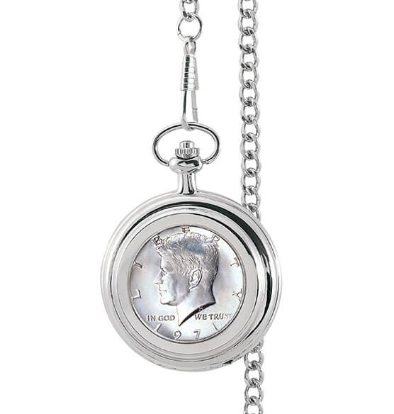JFK Half-Dollar Coin Monogrammed Pocket Watch