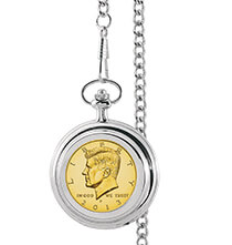 Accessories for Him - Monogrammed Gold-Layered JFK Half Dollar Coin Pocket Watch