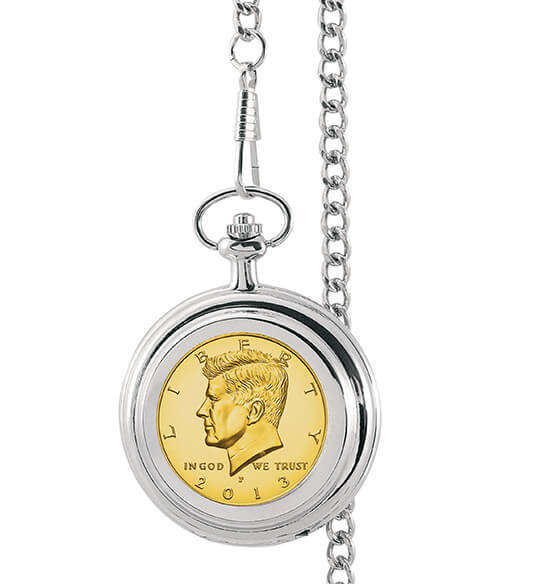 Monogrammed Gold-Layered JFK Half Dollar Coin Pocket Watch
