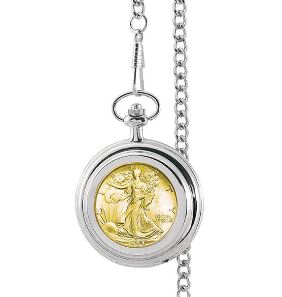 Gold-Layered Silver Walking Liberty Pocket Watch