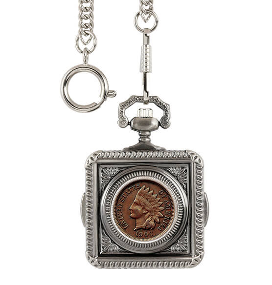Indian Penny Coin Monogrammed Pocket Watch