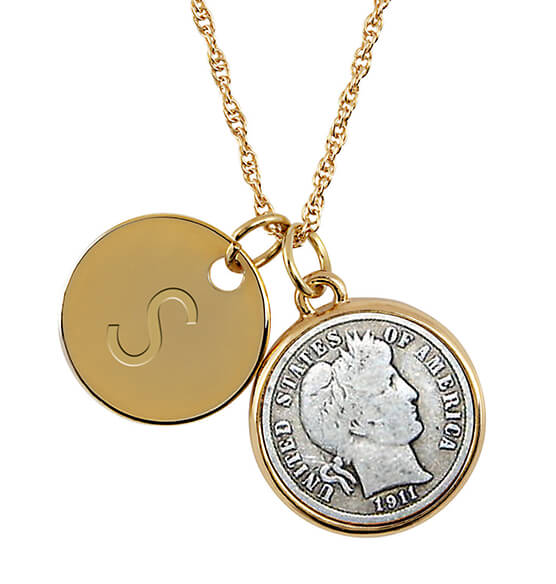 Silver Barber Dime Coin Goldtone Pendant Necklace