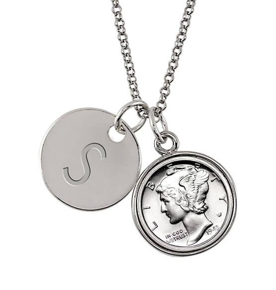 Silver Mercury Dime Coin Personalized Pendant Necklace
