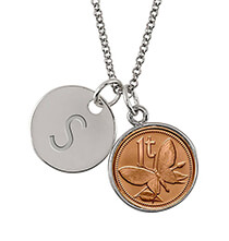 Jewelry & Jewelry Boxes - Butterfly Coin Silvertone Personalized Pendant Necklace
