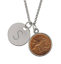 Jewelry & Jewelry Boxes - Hummingbird Coin Silvertone Perosnalized Pendant Necklace