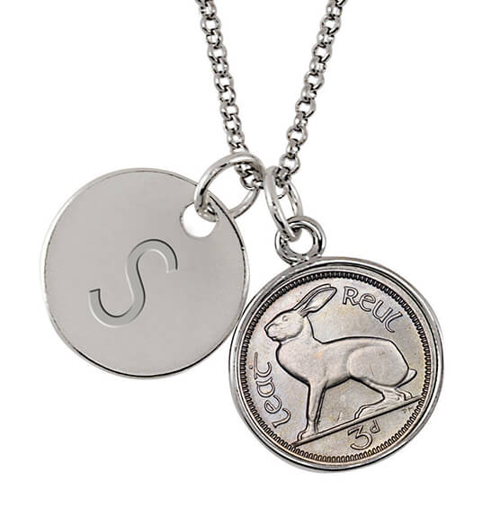 Irish Threepence Rabbit Coin Pendant Necklace - View 1