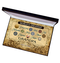 Accessories for Him - World's Greatest Grandpa Box Coin Collection Set