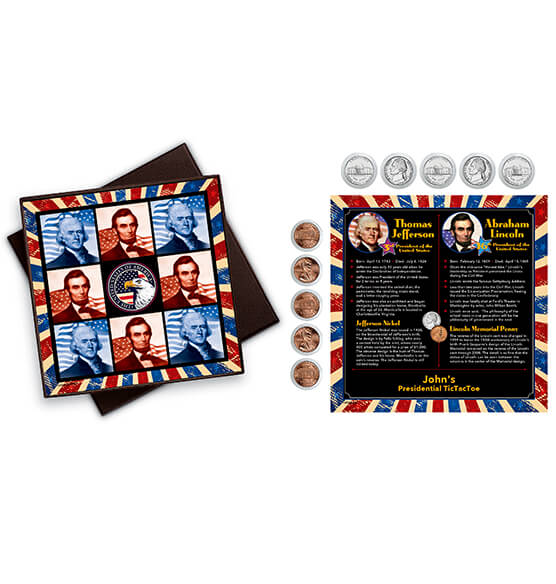 Personalized Presidential Tic-Tac-Toe Coin Game - View 1