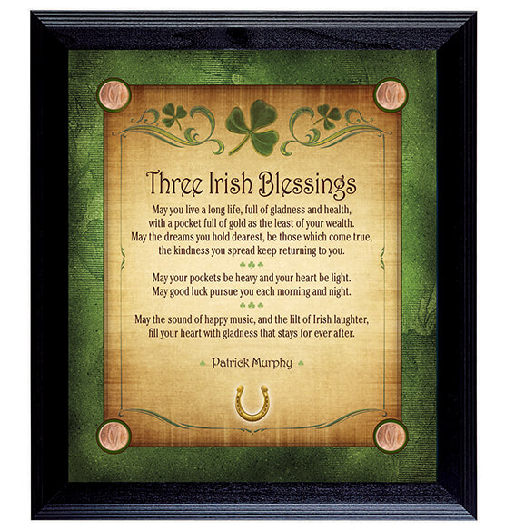 Framed Irish Blessing Wall Hanging with Three Blessings