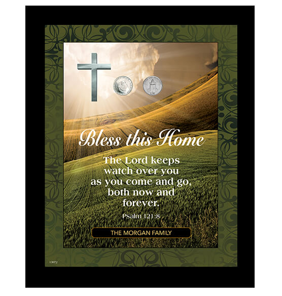 Personalized Vatican Pope Coin Framed Home Blessing
