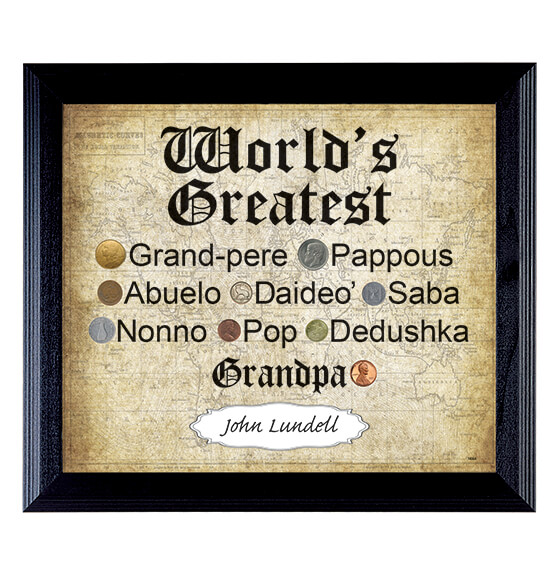 World's Greatest Grandpa World Coin Collection Frame