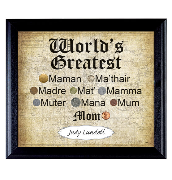 World's Greatest Mom World Coin Collection Frame