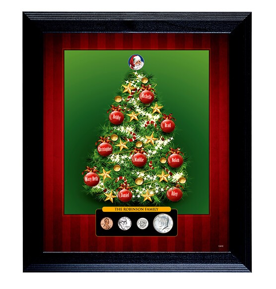 Personalized Framed Family Christmas Tree with Coins