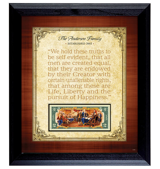Personalized Framed Established Family Declaration