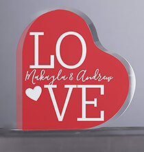 Valentine's Day - Personalized Acrylic Heart LOVE Keepsake