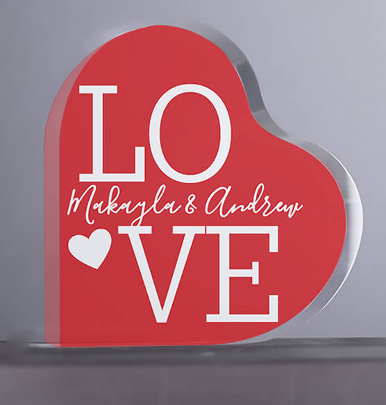 Personalized Acrylic Heart LOVE Keepsake